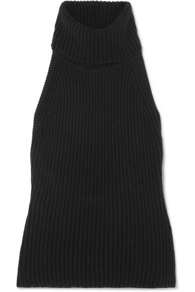 ANTONIO BERARDI Ribbed Wool And Cashmere-Blend Turtleneck Top in Black