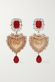 Dolce & Gabbana Gold-plated, crystal and faux pearl clip earrings
