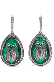Alexander McQueen Beetle silver-plated, crystal and faux pearl earrings
