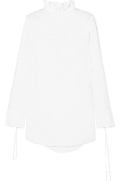 CECILIE BAHNSEN NELLY RUFFLE-TRIMMED COTTON-POPLIN TOP