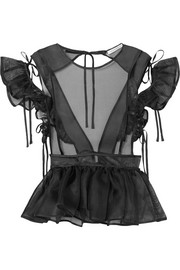 Maja bow-detailed ruffled silk-tulle top