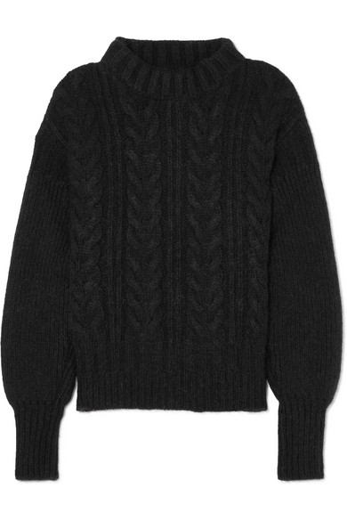 CECILIE BAHNSEN Selma Open-Back Cable-Knit Merino Wool-Blend Sweater in Black