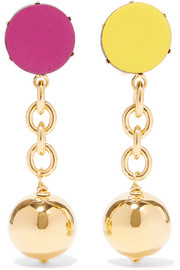 Orbit gold-tone leather clip earrings