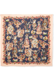 Dolce & Gabbana Frayed printed cashmere and silk-blend scarf