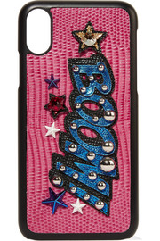 Dolce & Gabbana Embellished appliquéd croc-effect leather iPhone X case