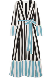 we are LEONE Striped silk crepe de chine wrap robe