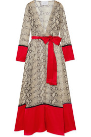 we are LEONE Satin-paneled snake-print silk crepe de chine robe