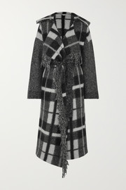 Stella McCartney Hooded checked wool-blend coat