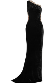 Stella McCartney One-shoulder lace-paneled velvet gown