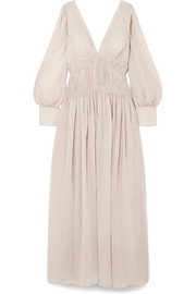 Stella McCartney Carleigh ruched silk-georgette maxi dress