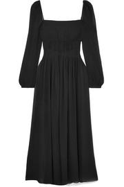 Stella McCartney Open-back shirred silk-georgette maxi dress