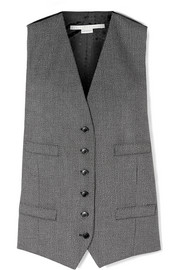 Stella McCartney Satin jacquard-paneled wool and cotton-blend vest