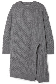 Stella McCartney Oversized asymmetric cable-knit wool and alpaca-blend sweater