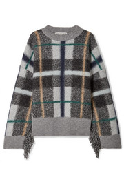 Stella McCartney Oversized fringed plaid-intarsia wool sweater