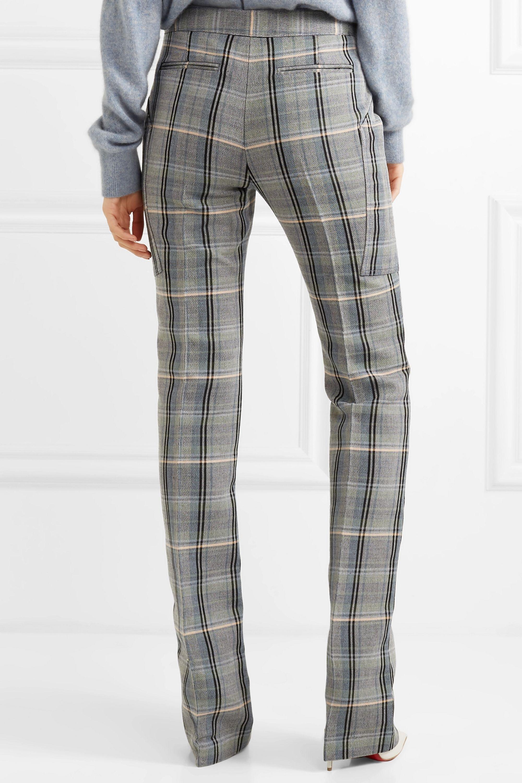 Stella McCartney Pantalon slim en serge de laine et de coton mélangés à carreaux