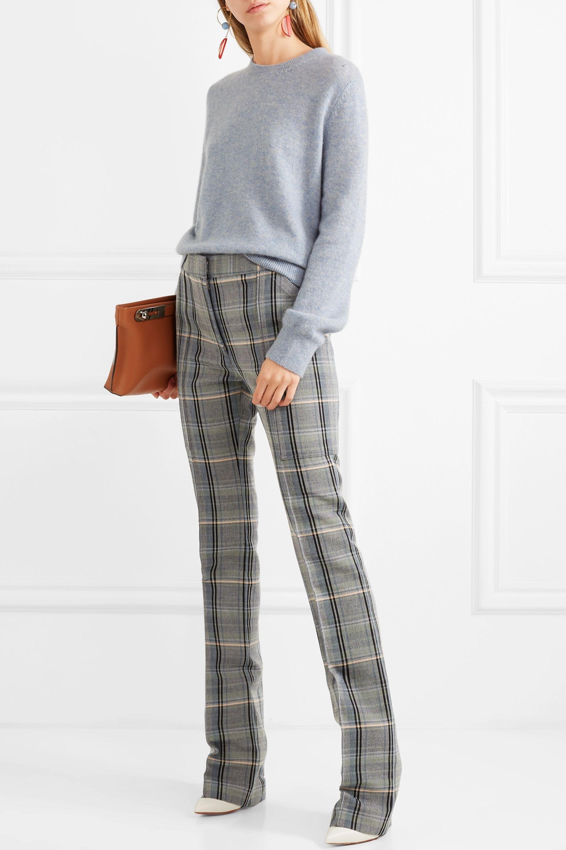 Stella McCartney Karierte Hose mit schmalem Bein aus Twill aus einer Woll-Baumwollmischung
