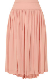 Stella McCartney Asymmetric silk-georgette midi skirt