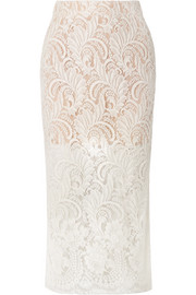 Stella McCartney Wool-blend guipure lace midi skirt
