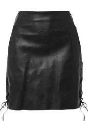 Lace-up faux textured-leather mini skirt