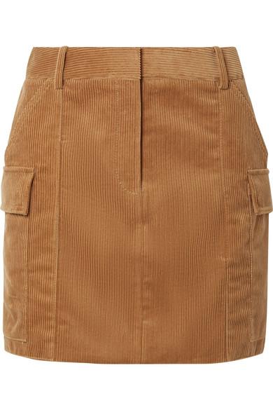 Cotton-Corduroy Mini Skirt in Camel