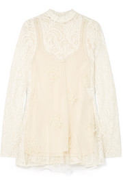 Stella McCartney Embellished paneled wool-blend lace and tulle blouse
