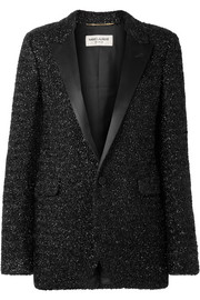 Saint Laurent Satin-trimmed Lurex blazer