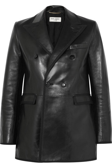 Saint Laurent Blazers Grosgrain-trimmed leather blazer