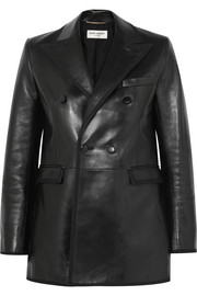 Grosgrain-trimmed leather blazer