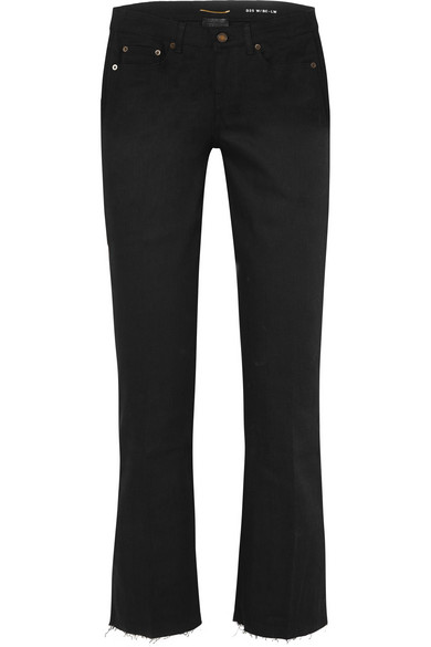 SAINT LAURENT Cropped frayed low-rise flared jeans