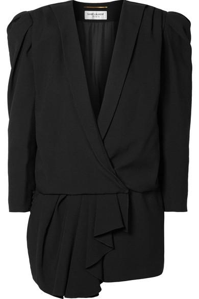 Asymmetric Draped Crepe De Chine Playsuit in Black