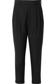Saint Laurent Cropped pleated wool-gabardine pants