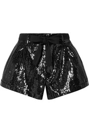 Saint Laurent Belted sequined wool shorts