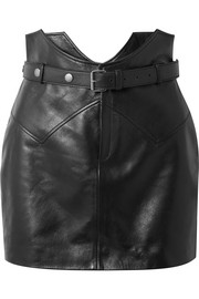 Saint Laurent Belted leather mini skirt