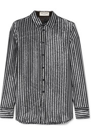 Saint Laurent Striped lamé and silk-chiffon shirt