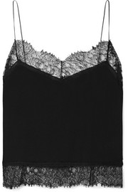 Saint Laurent Lace-trimmed silk-georgette camisole