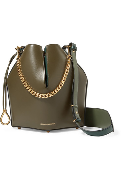 Paneled Leather Bucket Bag by Alexander Mc Queen