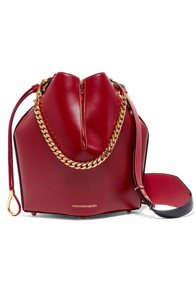 Alexander McQueen - Paneled Leather Bucket Bag - Burgundy