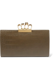Alexander McQueen Knuckle embellished croc-effect leather clutch