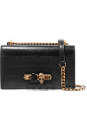 Knuckle embellished croc-effect leather shoulder bag