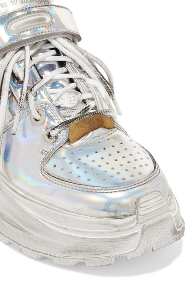 21606e408438b Maison Margiela. Silver mirrored-leather platform sneakers. £417. Play