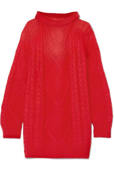 Maison Margiela - Oversized Mohair-blend Turtleneck Sweater - Red