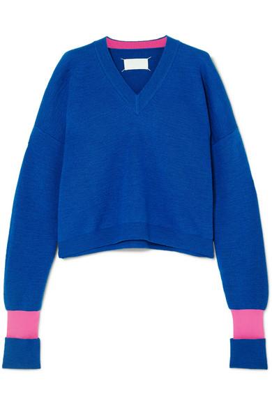 Maison Margiela - Two-tone Wool-blend Sweater - Blue