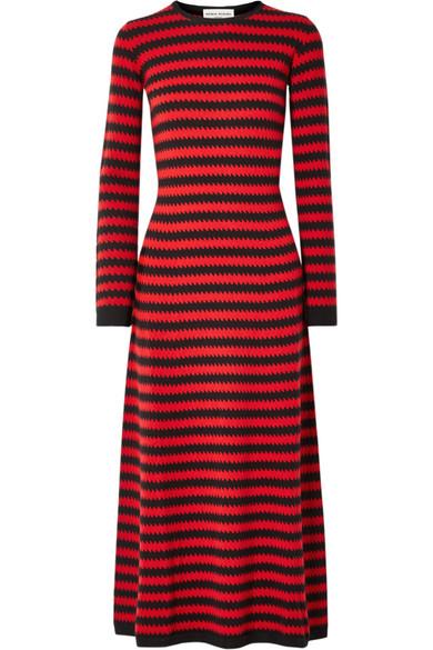 Sonia Rykiel - Striped Cashmere Midi Dress - Red