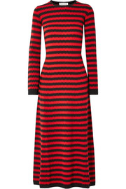 Striped cashmere midi dress