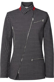 Zip-detailed checked crepe blazer
