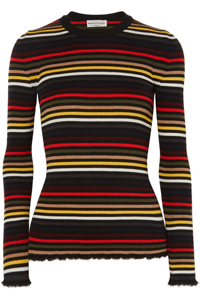 0aa8ed2afe Sonia Rykiel | Frayed striped ribbed wool sweater | NET-A-PORTER.COM