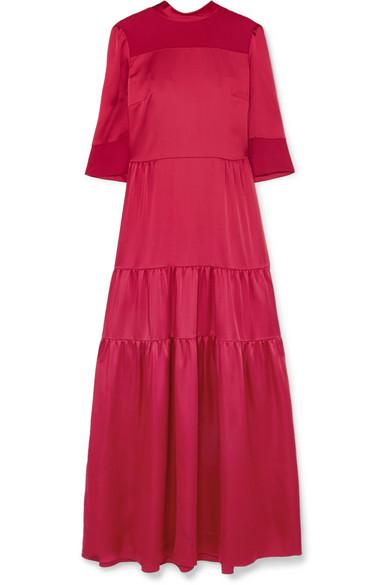 Vilshenko - Avelina Tiered Satin And Crepe Maxi Dress - Crimson