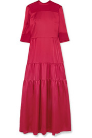 Avelina tiered satin and crepe maxi dress