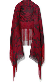 Alexander McQueen Fringed satin-jacquard scarf