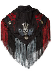 Alexander McQueen Fringed printed silk-blend jacquard scarf